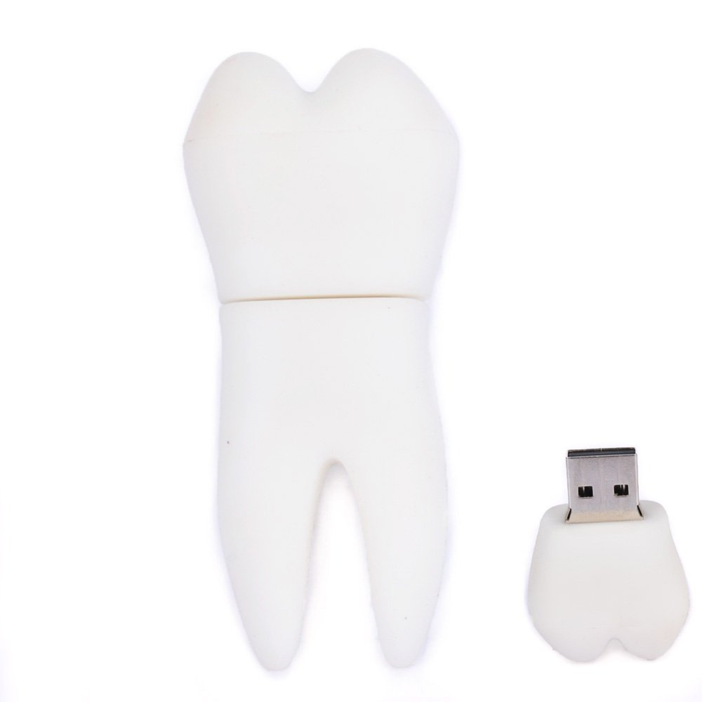 16GB Artificial Tooth USB Flash Drive (White)