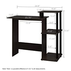 Furinno 11192EX/BK 99797E Home Computer Desk Writing Table, Espresso Finish