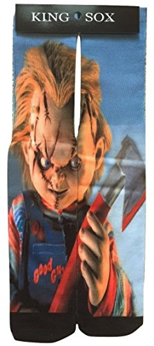 King Sox Sublimation Graphic Print Socks (Unisex Adult 9-11, Chucky Axe)