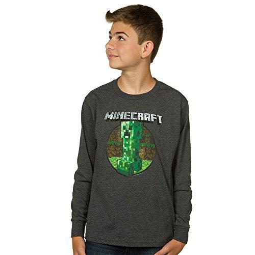 Gray long sleeve minecraft shirt green creeper