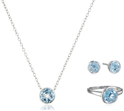 Sterling-Silver-Ring-Stud-Earrings-and-Pendant-Necklace-with-8-mm-Gemstone-Jewelry-Set