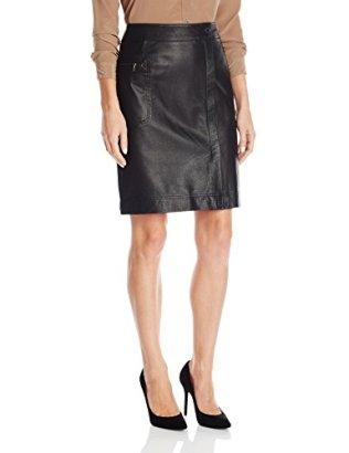 Anne-Klein-Womens-Faux-Wrap-Leather-Skirt-Black-16