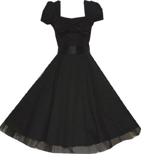 Pretty Kitty Fashion 50s Schwarz Cocktail Kleid XL