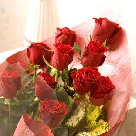翌日配達お花屋さん ニューヨークスタイルのフラワーギフト♪スタイリッシュで大人気♪ ♪シンフォニー(赤バラ花束)10 Stem of Red Roses bouqet