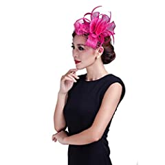 Women wedding Hot Pink fancy fascinator feather handmade hair accessories  with netting.