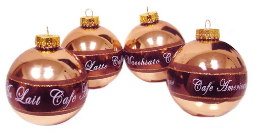 Set of 4 Coffee Break Glass Christmas Ornaments