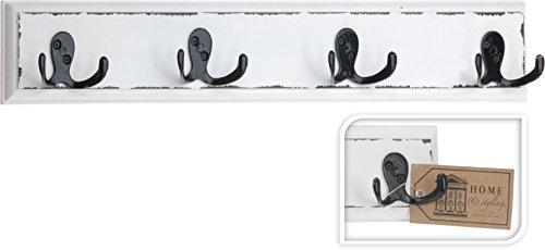 Garderobe Hakenleiste Wandgarderobe 4 Haken Landhaus schwarz/weiß