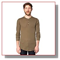 American Apparel Thermal Long Sleeve Henley - Army / XL