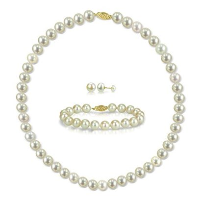 14k-Yellow-Gold-White-Freshwater-Cultured-Pearl-Necklace-18-Bracelet-7-and-Stud-Earrings-Set