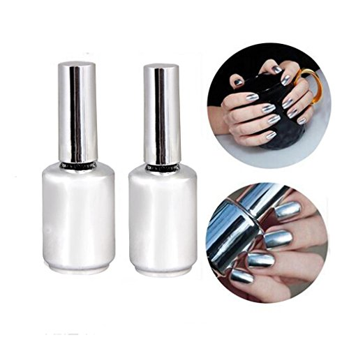 Creazy® 2Pcs 15ML Metallic Mirror Effect Nail Polish Metal Silver Varnish &15ML Top Coa