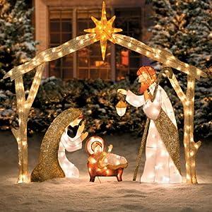 Amazon.com : 6 Ft Tall Elegant Pre Lit Nativity Scene ... on Backyard Decorations Amazon id=31557