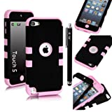 E-LV Two Tone Hard and Soft Hybrid Armor Combo Case for Apple iPod Touch 5 5th Generation with 1 Free Screen Protector, 1 Black Stylus and 1 E-LV Microfiber Digital Cleaner (Black with Baby Pink)