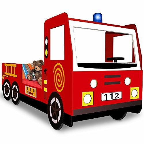 Kinderbett inklusive Lattenrost – Spielbett Autobett Feuerwehrbett Bett Lattenrost Feuerwehr Jugendbett
