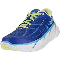 Hoka One One Women's W Clifton 2 True Blue/Sunny Lime Running Shoe 8.5 Women US