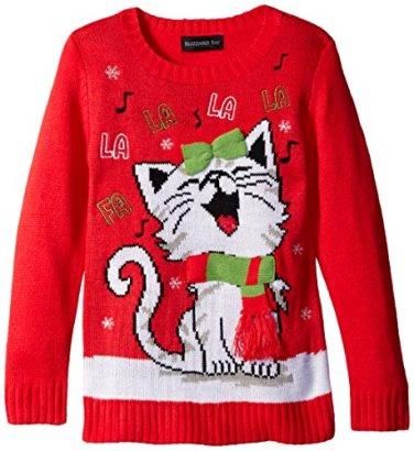 Blizzard-Bay-Big-Girls-Happy-Kitty-Christmas-Sweater-RedWhite-Small
