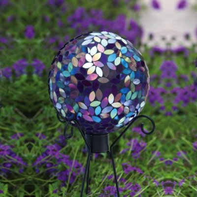 flower petal mosaic gazing ball