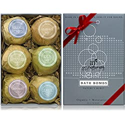 Art Naturals Bath Bombs Gift Set - 6 Ultra Lush Essential Oil Handmade Spa Bomb Fizzies - Organic & Natural Ingredients & Shea Butter for Moisturizing Dry Skin - Relaxation In a Box - Best Gift Idea