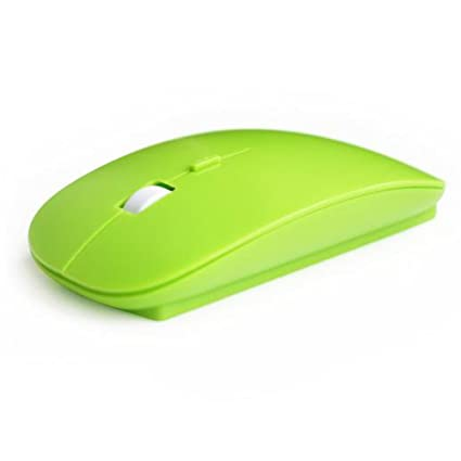 2.4GHz USB Wireless Optical Slim Mouse Mice with DPI Switch (Green)