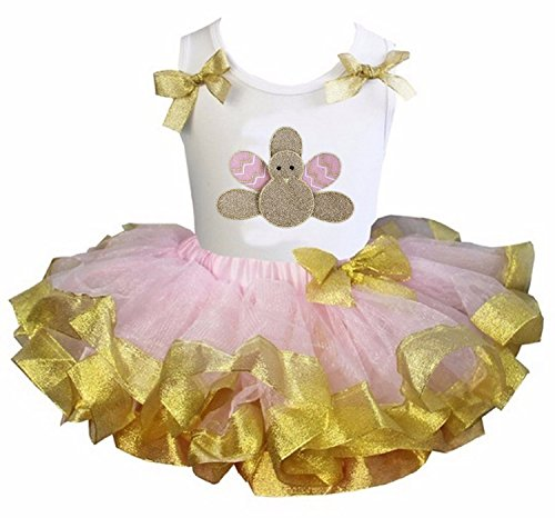 Kirei Sui Girls Light Pink Gold Satin Tutu Gold Turkey Top Medium
