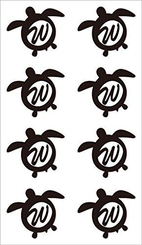 nc-smile イニシャル ハワイアン ホヌ 英字 アルファベット デコレーション シール ステッカー W ブラック