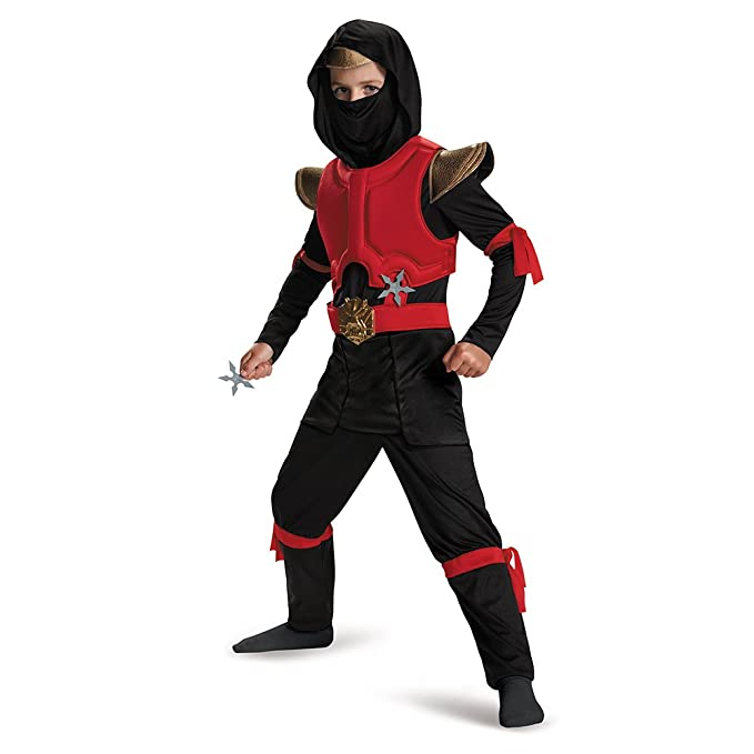 Disguise 80588L Red/Black Fire Ninja Deluxe Costume, Small (4-6)