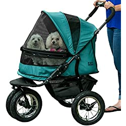 Pet Gear No-Zip Double Pet Stroller, Zipperless Entry, Pine Green