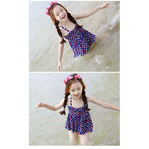 (ビグッド)Bigood 可愛い 女の子 ガールズ ベビー 水着 子供用水着 ワンピースタイプ スイムウエア 女の子 女児 ビキニ 水着 上下セット セパレート 海水浴 温泉(ネイビー・M)