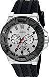 GUESS Men's U0674G3 Sporty Silver-Tone Stainless Steel Watch with Multi-function Dial and Black Strap Buckle