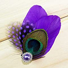 KISSPAT@ Purple Feather Hair Clip, Peacock Hair Clip, Flower Girl Hair Fascinator & Clip Accessory For Holiday & Wedding & Bridesmaid Gift, Purple Rhinestone Attached, Size: 3