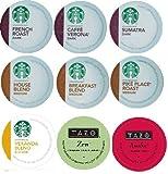 18 Count - Variety Pack of Starbucks Coffee & Tazo Tea K-Cups for Keurig Brewers (9 Flavors)