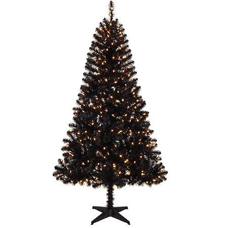 Black 6.5 Foot Pre-Lit Artificial Christmas Tree