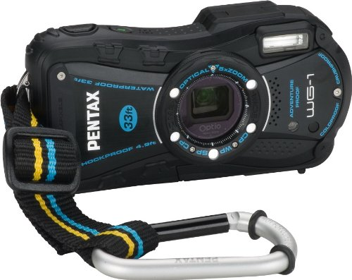 Pentax Optio WG-1 Adventure Series 14 MP Waterproof Digital Camera with 5x Wide-Angle Optical Zoom (Black)