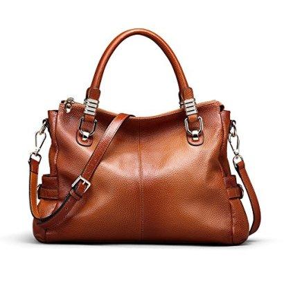 Kattee-Womens-Urban-Style-Genuine-Leather-Tote-Satchel-Shoulder-Handbag-Brown
