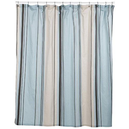 clawfoot tub shower curtain online nautica all around tub west end cotton blue brown stripe shower curtain 144 in x 72 in
