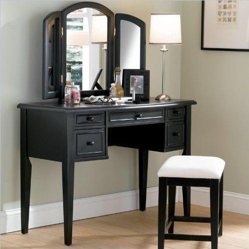 Cheap Powell Furniture Black Antique Wood Makeup Vanity