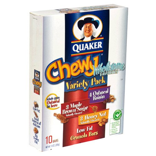 Quaker Chewy Granola Bar Low Fat Variety Pack 10 Ounce
