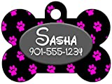 Personalized Dog Tag Pet ID Tag Paw Prints w/ Name & Number (Black)