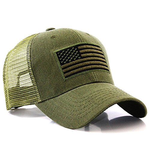USA Flag Patch Tactical Style Mesh Trucker Baseball Cap Hat Army Green cd6503df330