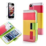 Generic PU Leather Quality Wallet Case for iPhone 5 Horizontal with Credit Card Slots & Holder Leather Case (Sprint, AT&T Verizon and International Carriers)(Red+Yellow+Pink)