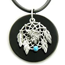 Amulet Black Onyx Wolf Magic Dream Catcher Circle Necklace