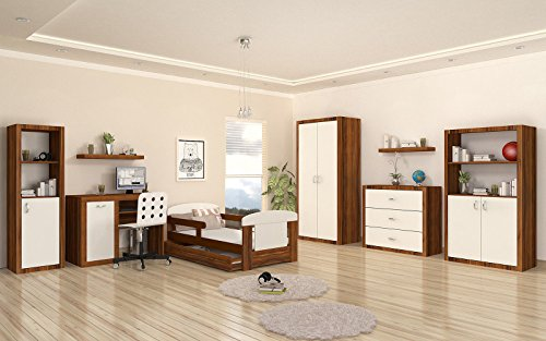 CRAVOG Jugendzimmer Komplett Set 6-tlg Bett Schreibtisch Regal Schrank Kommode Kinderzimmer Holz