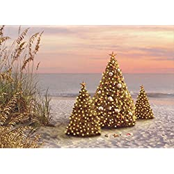 beachy christmas cards and embossed envelopes decorated trees on the beach - Beach Themed Christmas Cards