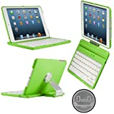 CoverBot iPad Mini Keyboard Case Station APPLE GREEN. Bluetooth Keyboard For 7.9 Inch New Mini iPad with IOS Commands. Folio Style Cover with 360 Degree Rotating Viewing Stand Feature