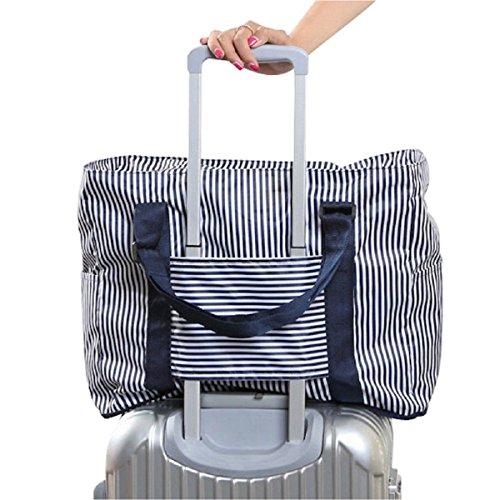 【Cat Hand(キャット ハンド)】2WAY 折り畳み バッグ キャリー スーツケース の持ち手に通せる 旅行 の サブバッグ に 最適 ポップ な ストライプ 水玉 柄 7色展開 (ネイビー/ストライプ柄)