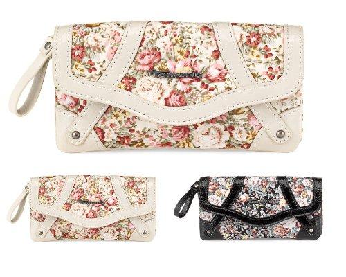 TAMARIS Damen Brieftasche Geldbörse lang, Clutch, TARA FLOWERED, 2 Farben: schwarz oder ivory
