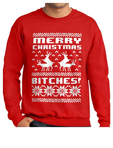 Merry Christmas Bitches Ugly Sweater Humping Reindeer Funny Sweatshirt Large Red