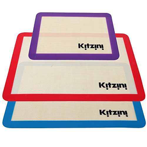 Silicone Baking Mat Set (3) 2 Half Sheets + 1 Qtr Sheet - Professional Grade Non Stick Cookie Sheet