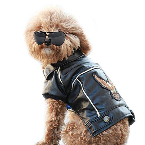 NACOCO Pu Leather Motorcycle Jacket, Dog Clothes Pet Clothes Leather Jacket,watherproof (M)