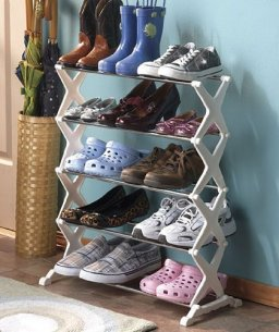5-TIER STANDING SHOE RACK ORGANIZER - (HOLDS UP TO 15 PAIRS OF SHOES!)