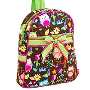 Owl Quilted Print Backpack Trimmed in Lime Green - How Gives a Woot
